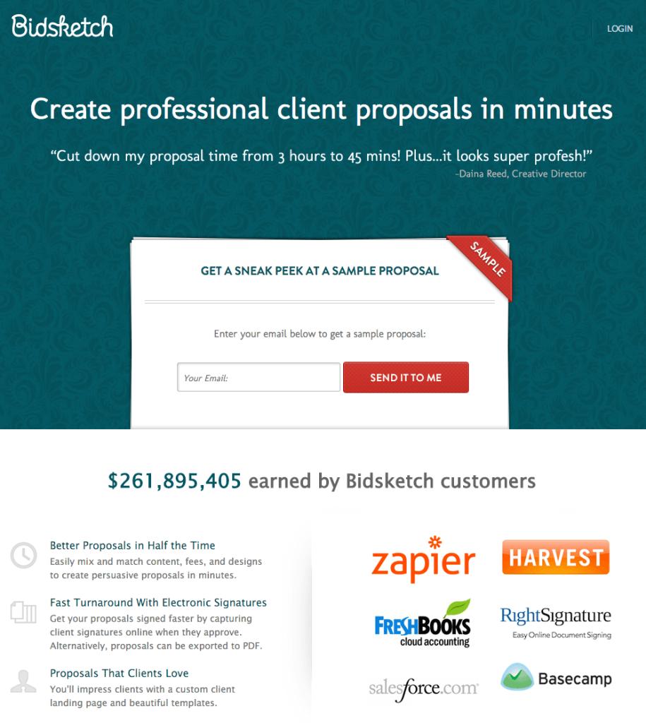 Bidsketch Lead Nurturing Focused Homepage