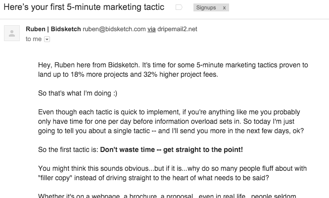 Bidsketch 5 Minute Marketing Tactic Drip Email