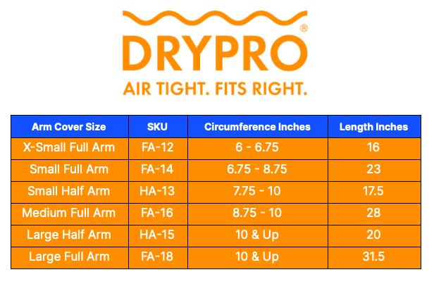 DRYPRO leg size chart