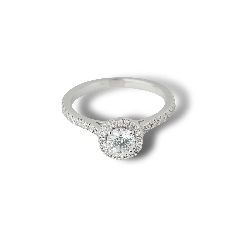 Μονόπετρο δαχτυλίδι Κ18 λευκόχρυσο με round διαμάντι