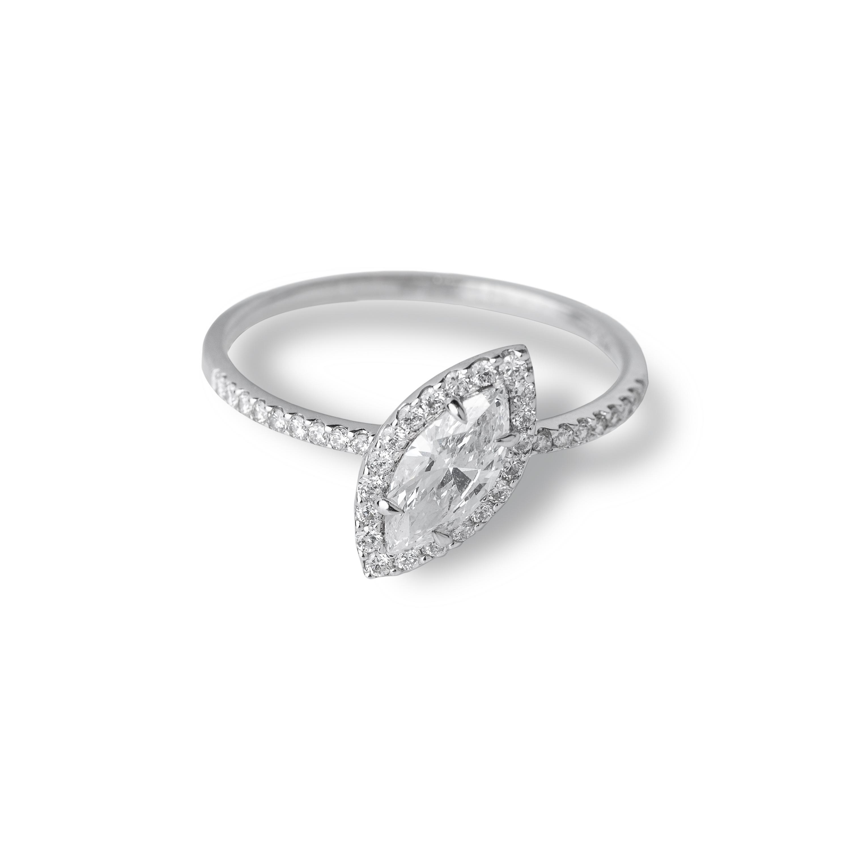 Μονόπετρο δαχτυλίδι Κ18 λευκόχρυσο με Marquise διαμάντι