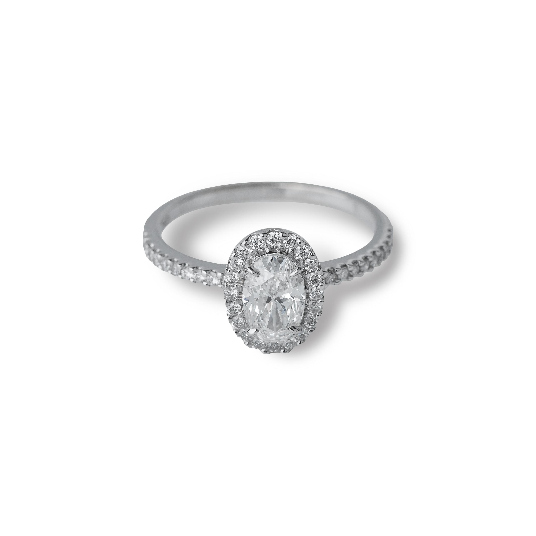 Μονόπετρο δαχτυλίδι Κ18 λευκόχρυσο με oval διαμάντι