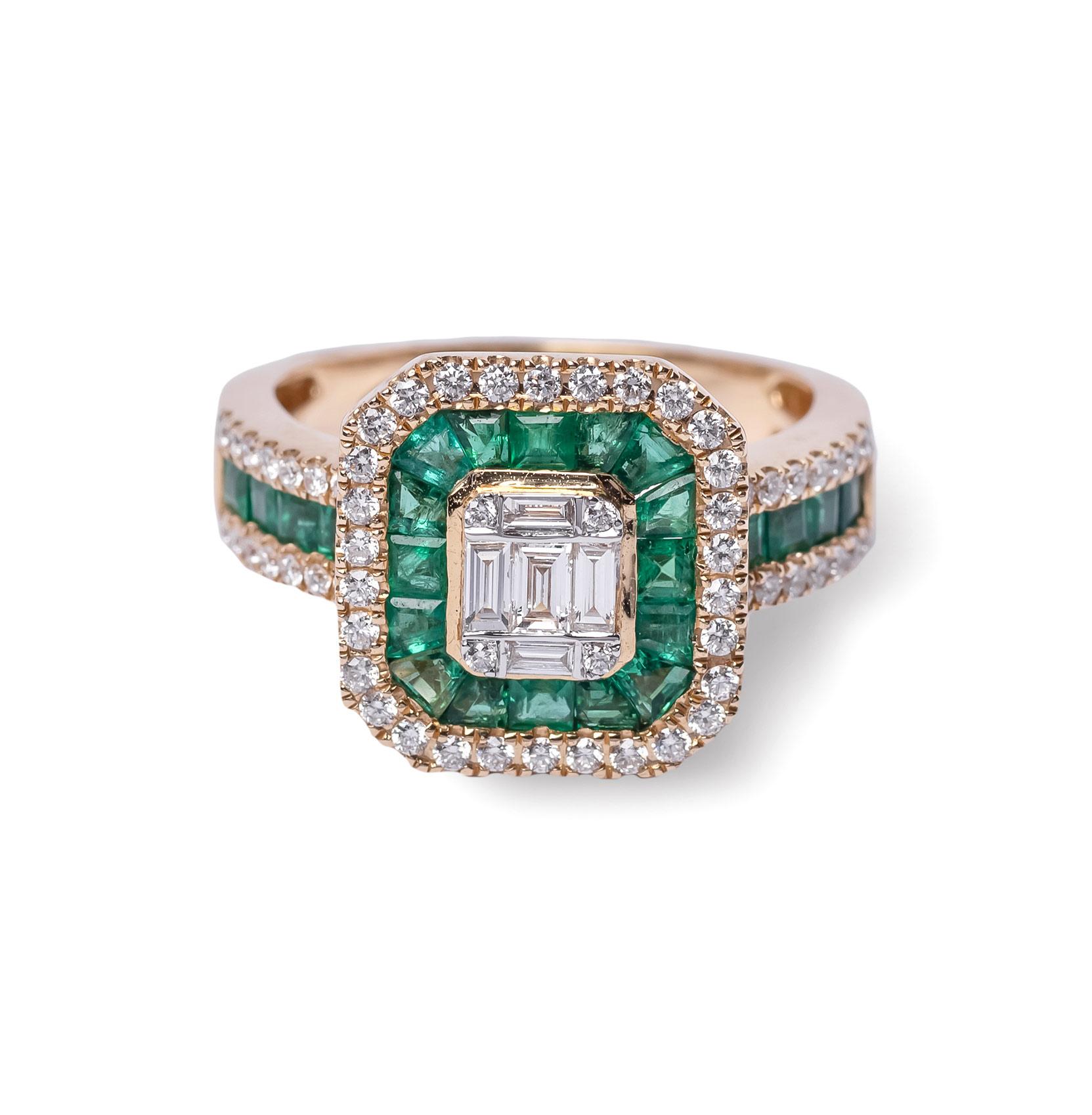 Δαχτυλίδι κίτρινο χρυσό Κ18 με σμαράγδια και διαμάντια