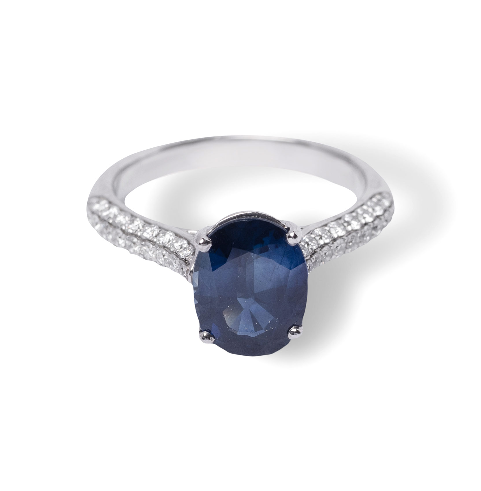Δαχτυλίδι λευκόχρυσο Κ18 με ζαφείρι και διαμάντια