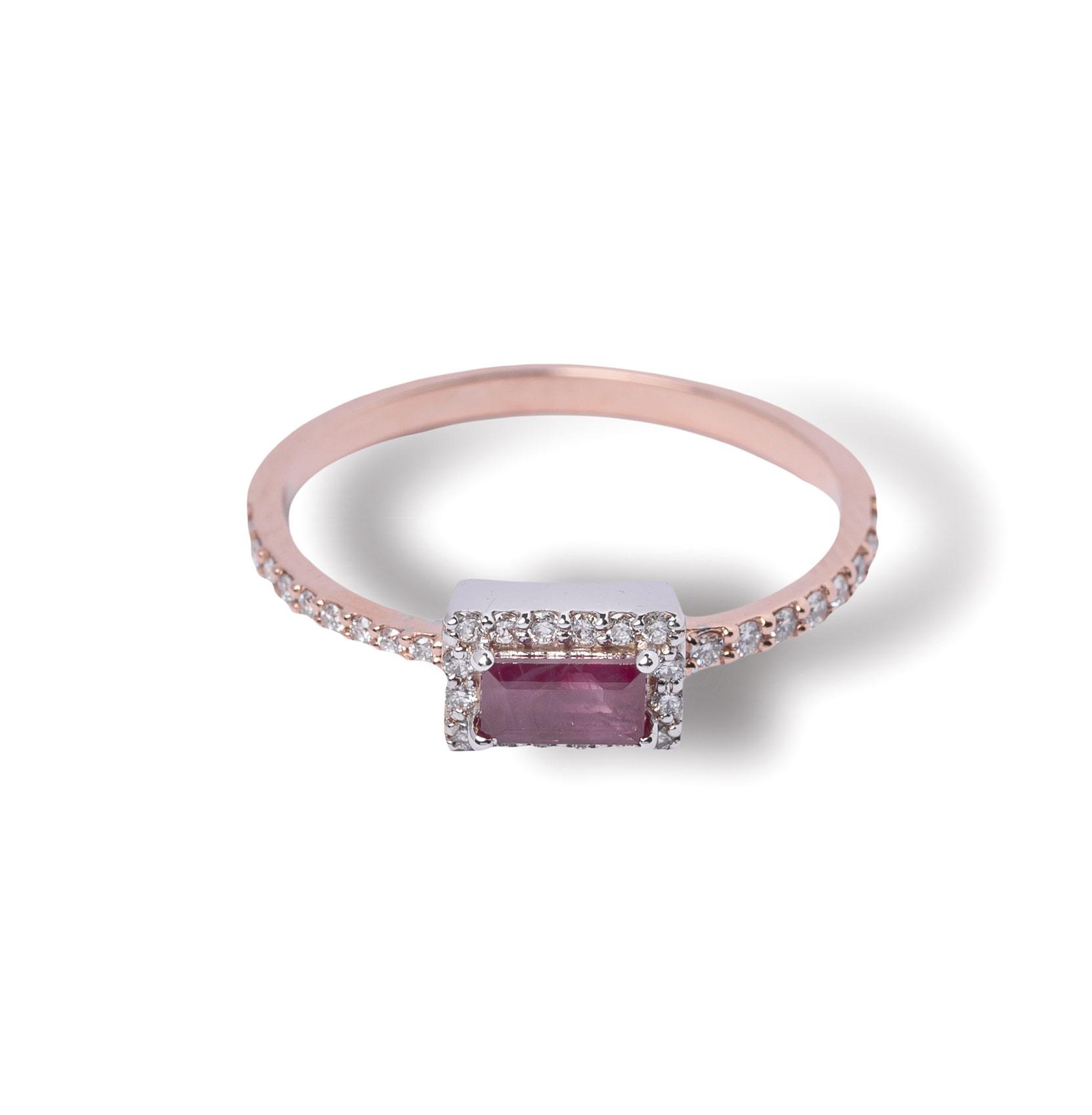 Δαχτυλίδι ροζ χρυσό Κ18 με ρουμπίνι και διαμάντια