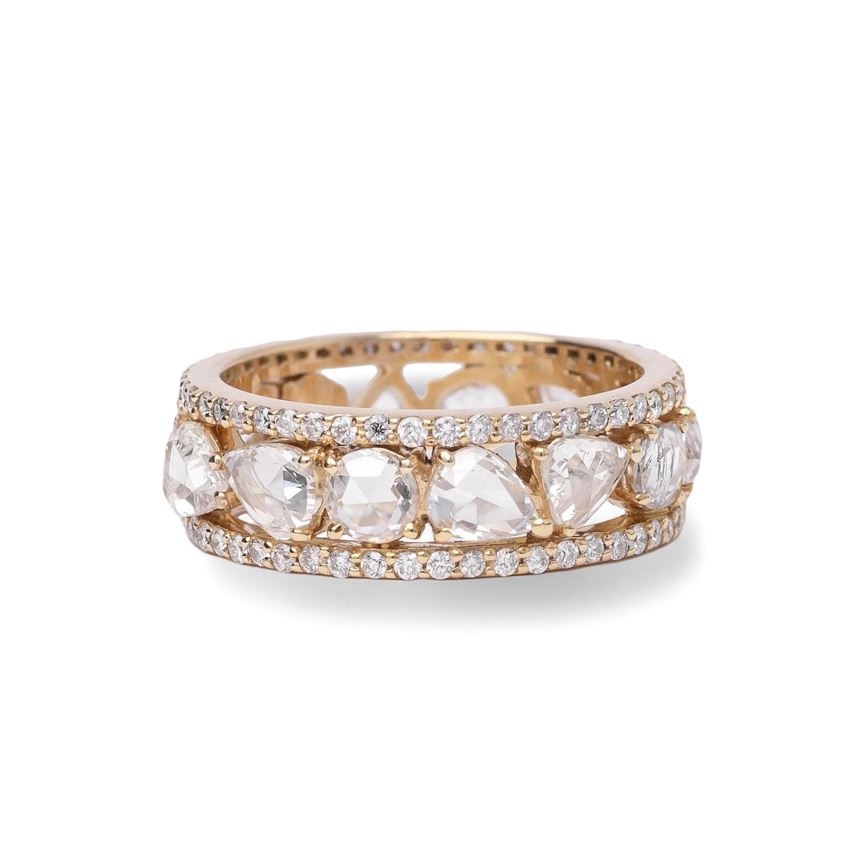 Βέρα K18 Κίτρινο Χρυσό με Rose Cut Διαμάντια