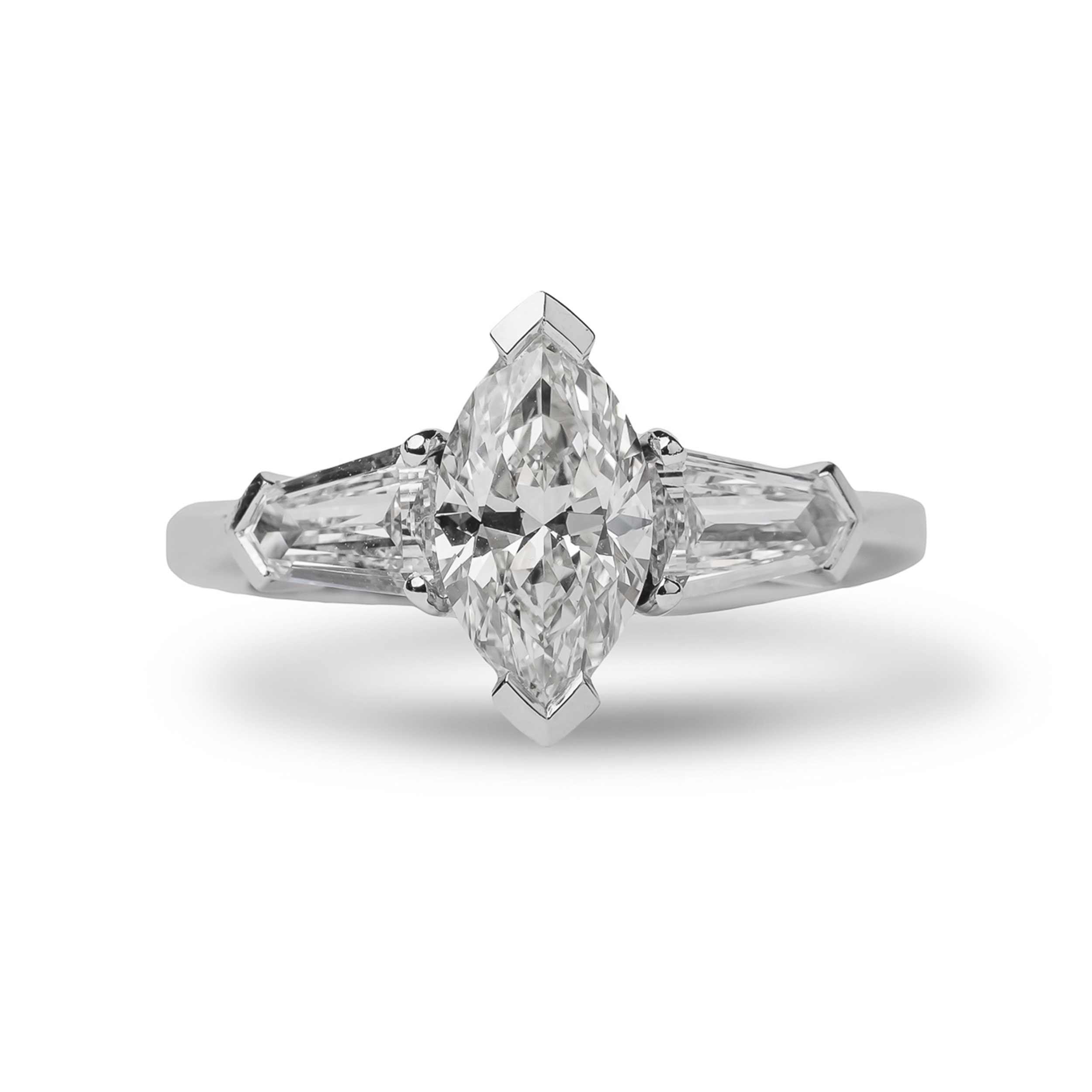 Μονόπετρο δαχτυλίδι 950 πλατίνα με marquise διαμάντι