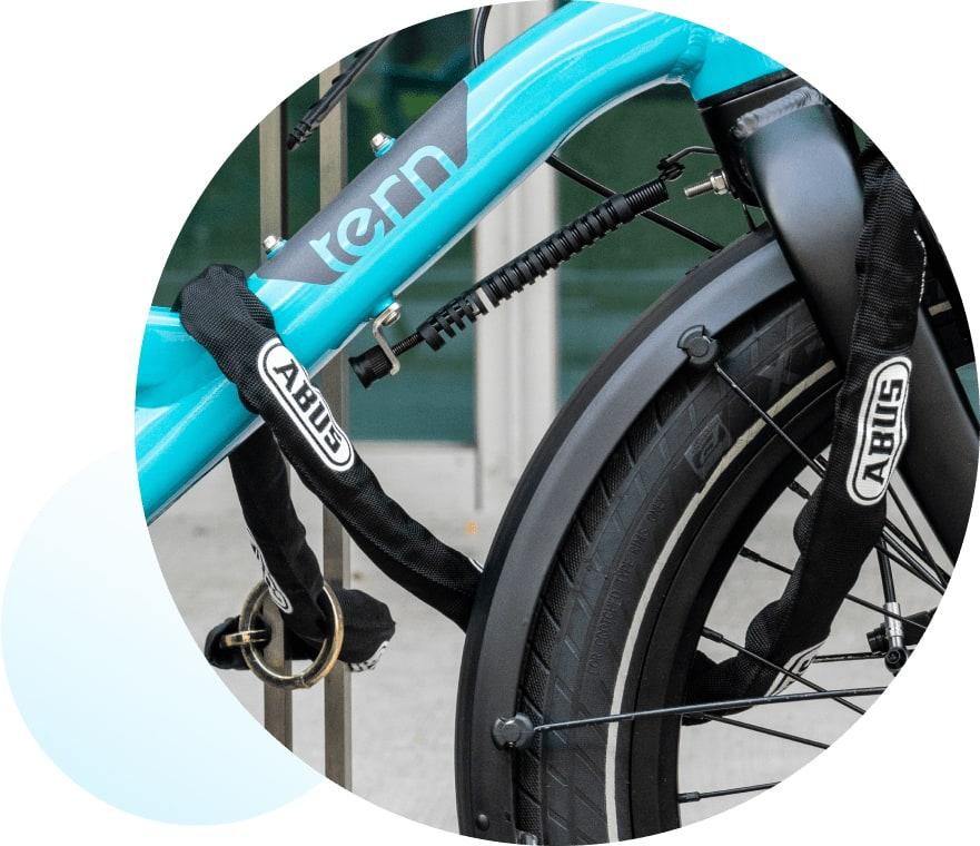 closeup of a locked bike.