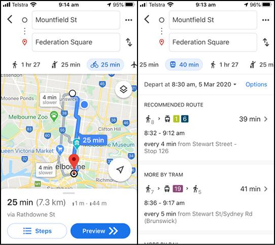 Google Maps Cycling Trip Comparison