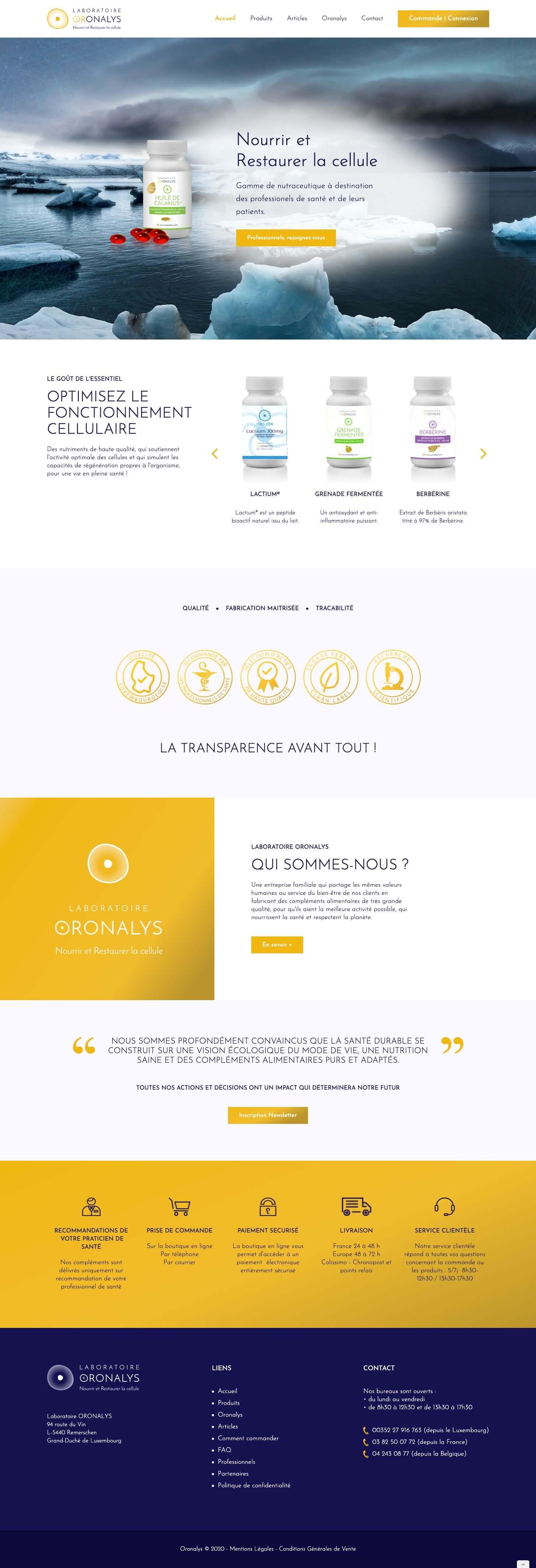 site web oronalys laboratoire