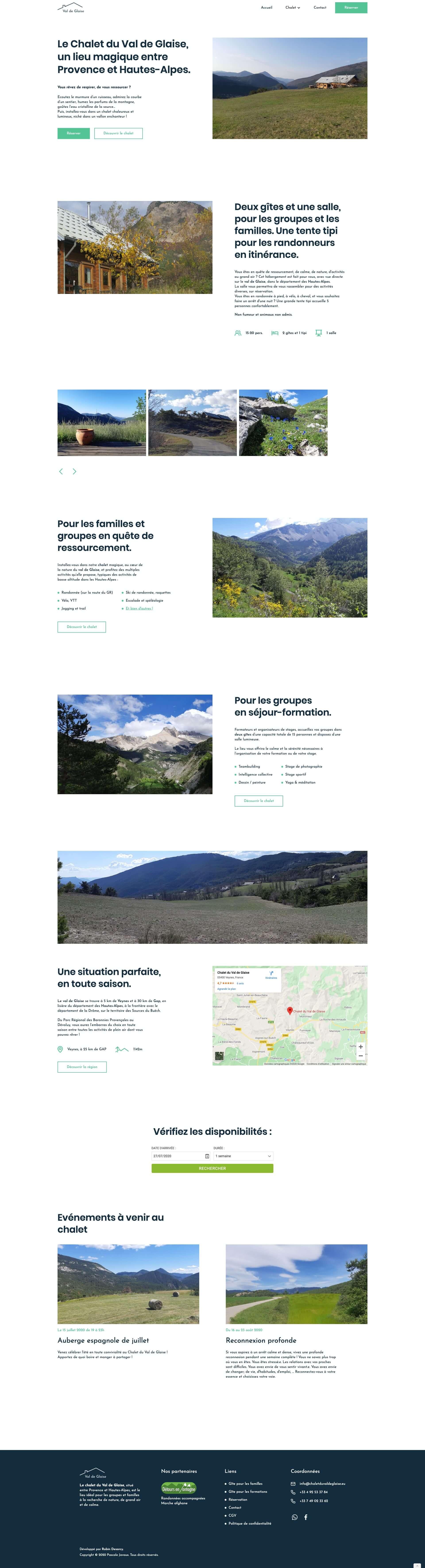 site web chalet du val de glaise
