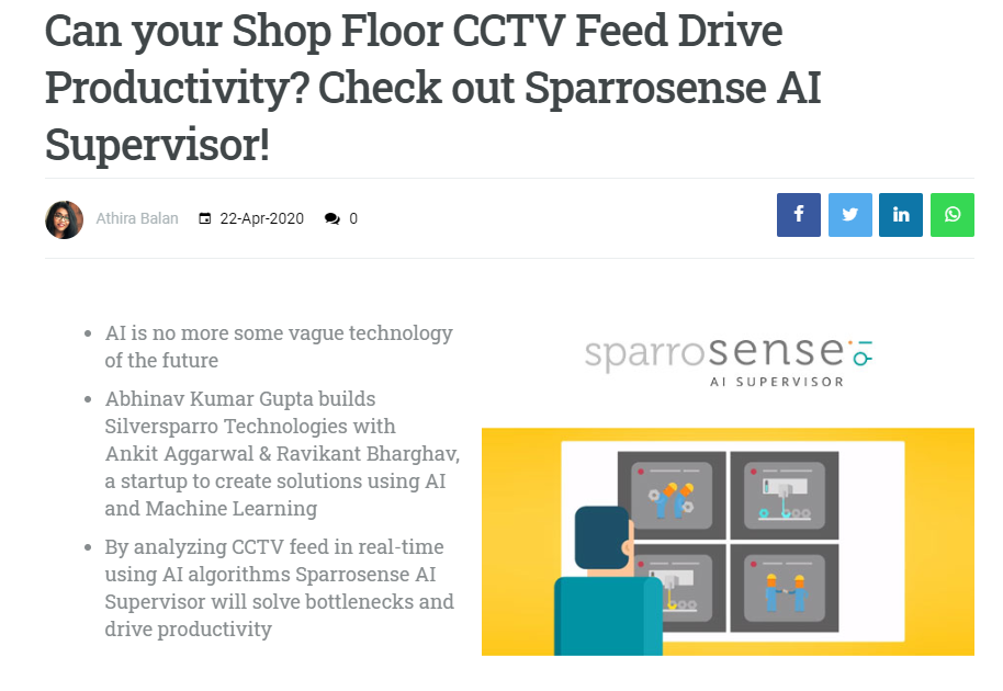 Drive productivity using shop floor CCTV by leveraging AI powered video analytics