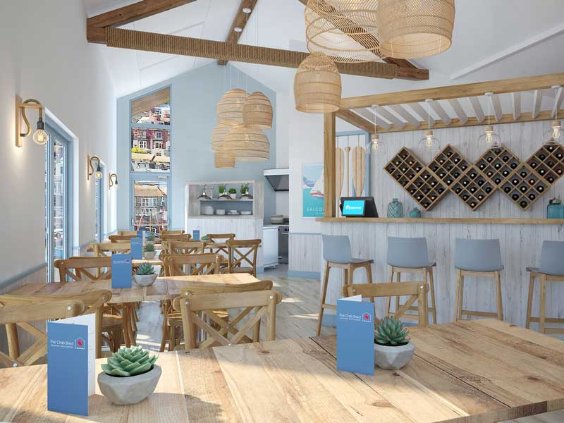 The Crab Shed Salcombe newly refurbished quayside restaurant is light and bright