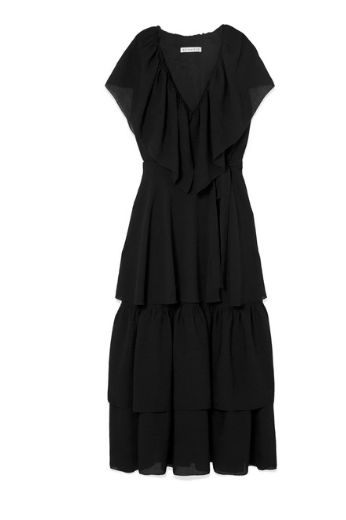 BLACK RUFFLE MIDI DRESS
