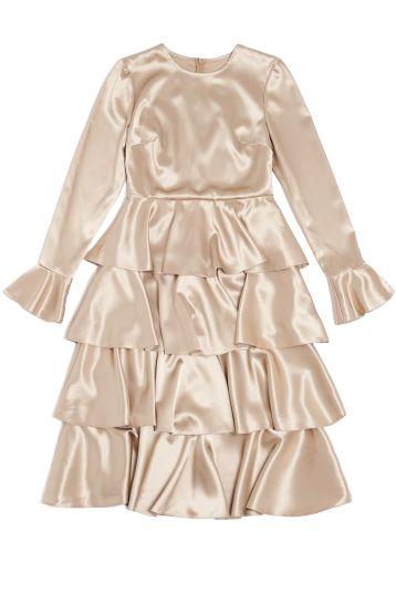 GOLD RUFFLE DRESS