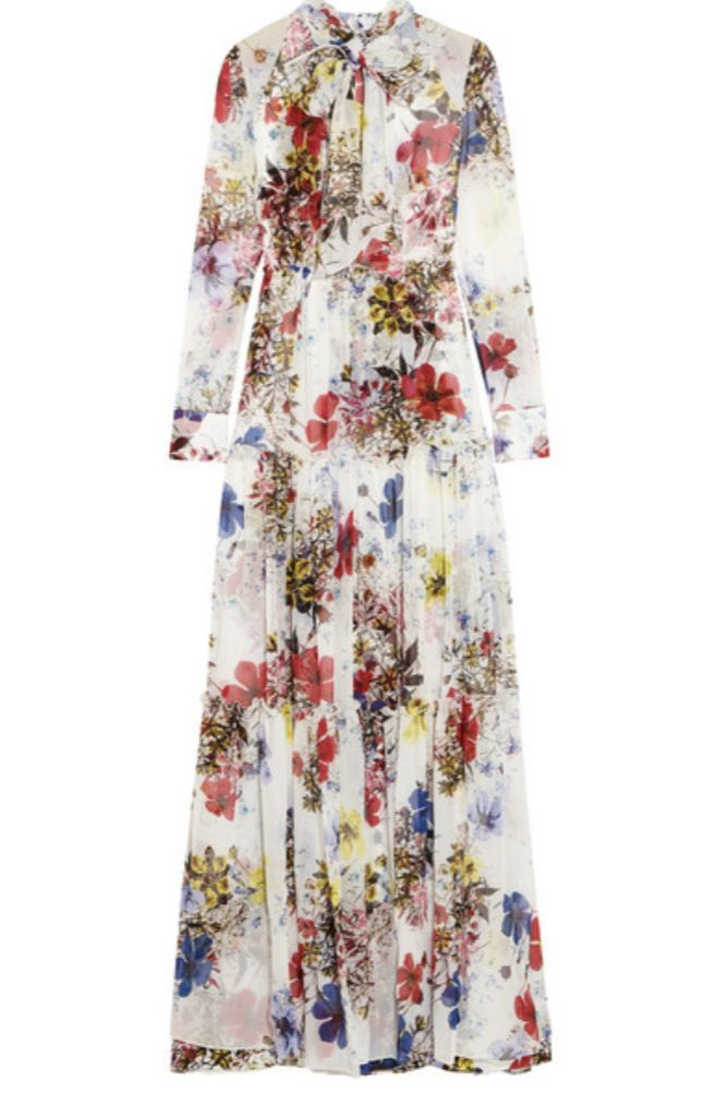 WHITE FLORAL SILK MAXI DRESS
