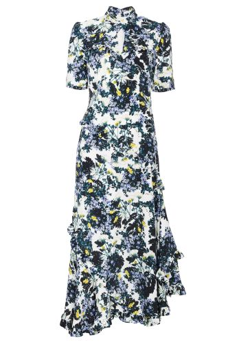 RUFFLE EMBELISHED MIDI FLORAL DRESS