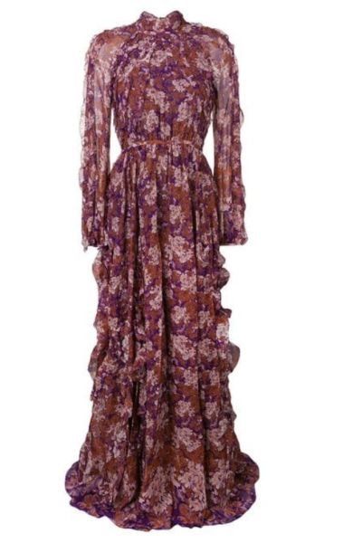 PURPLE RED FLORAL RUFFLE MAXI DRESS