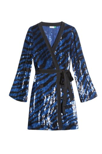 BLUE AND BLACK SEQUIN MINI WRAP DRESS