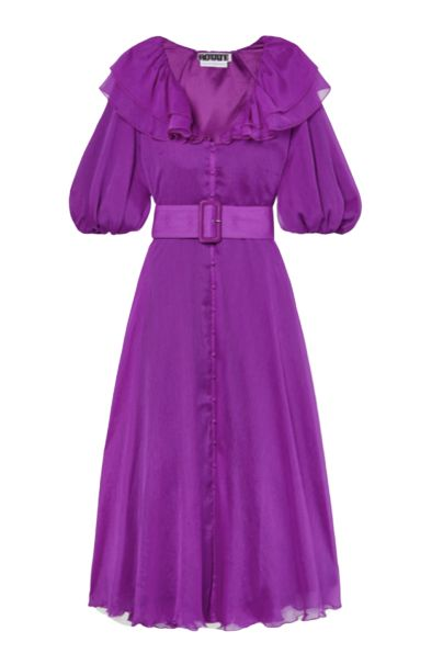 PUPLE BELTED CHIFFON MIDI DRESS