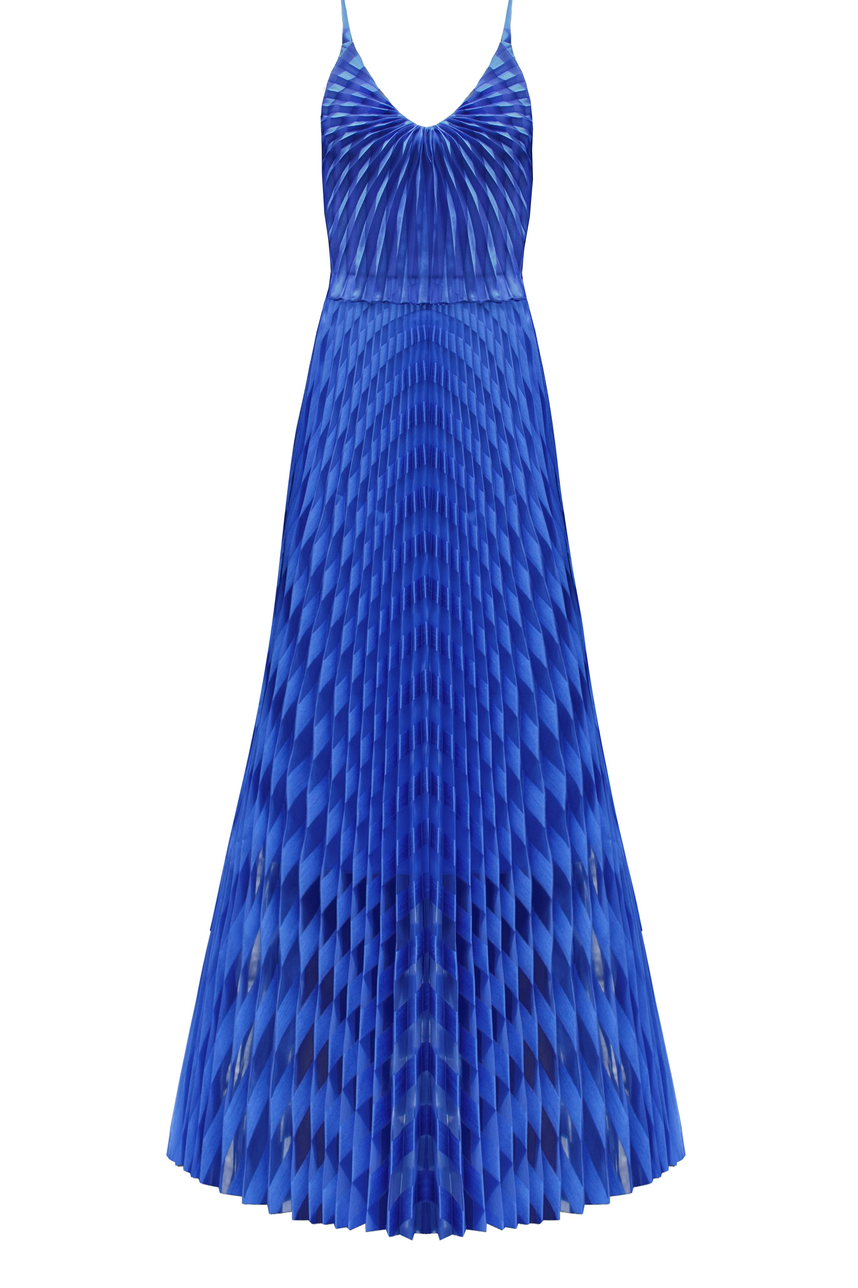 NAVY PLEAT MAXI DRESS