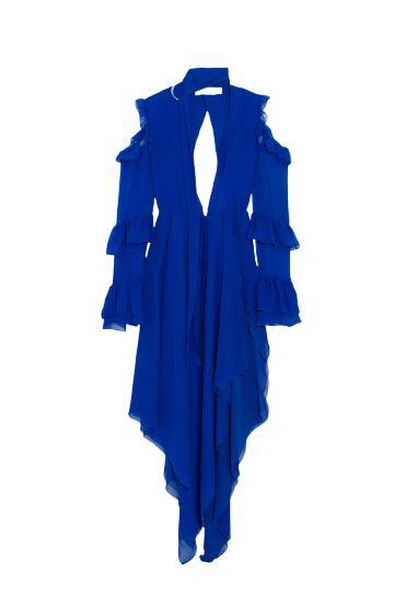 COLD SHOULDER RUFFLE DRESS