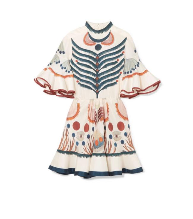 Ruffled printed silk mini dress