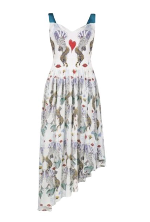 CARD PRINTED MIDI DRESS