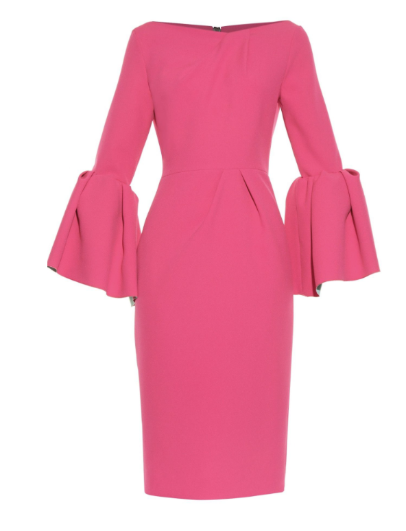 PINK PUFF SLEEVE MIDI DRESS