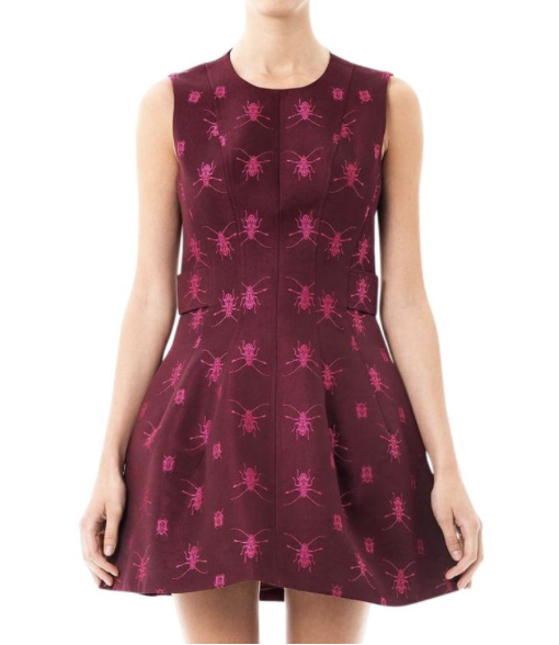 WINE BUG EMBELLISHED DRESS