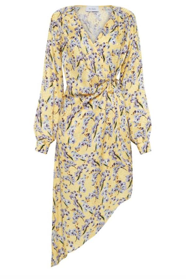 YELLOW FLORAL ASYMETRIC WRAP DRESS