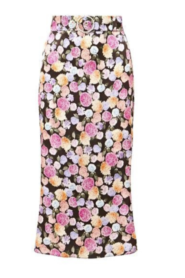 FLORAL BELTED MIDI SKIRT