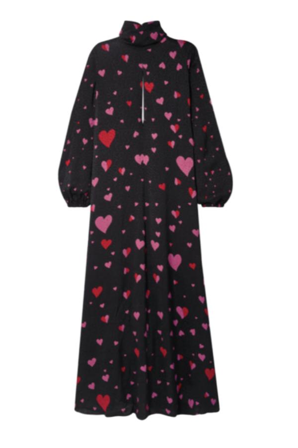 HEART PRINT BLACK MAXI DRESS
