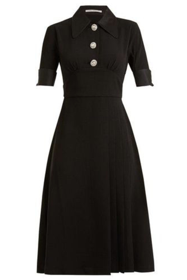 BLACK PLEAT DRESS CRYSTAL BUTTONS