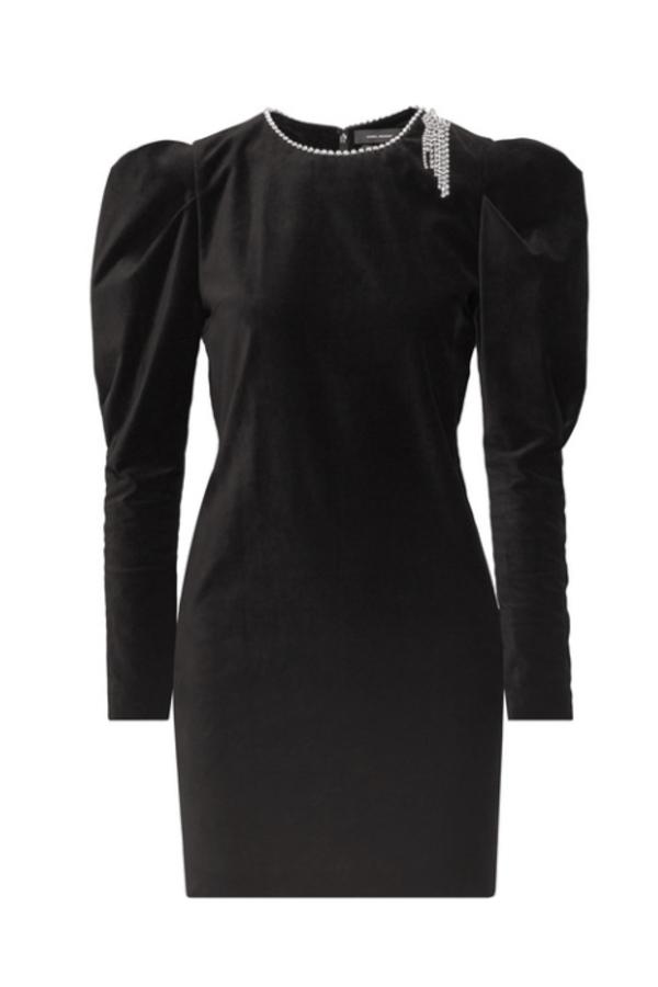 BLACK VELVET DRESS - EMBELISHED NECK