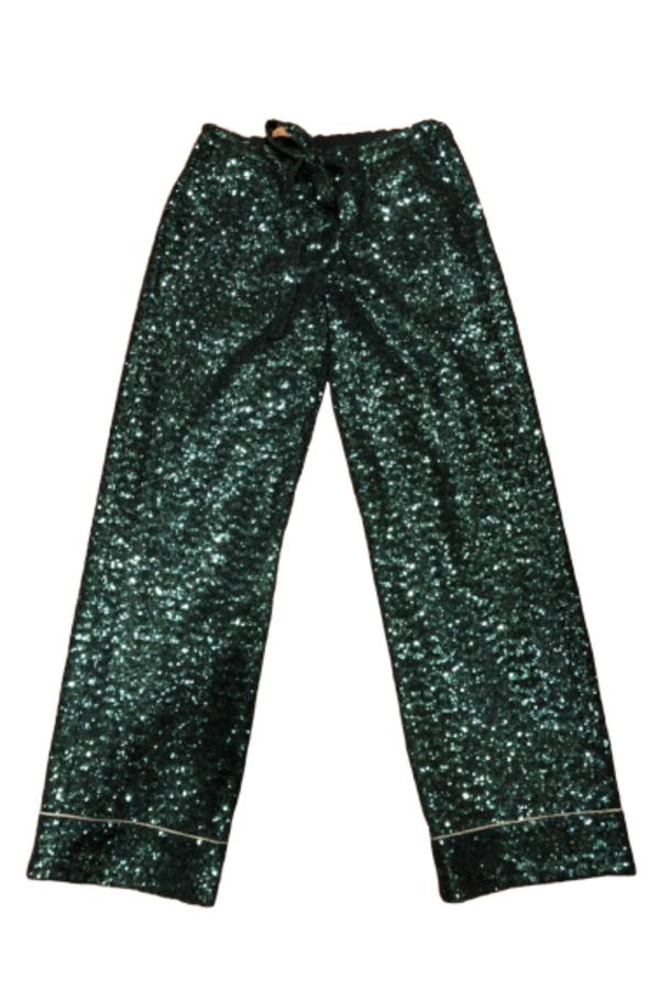 SEQUIN GREEN PANTS