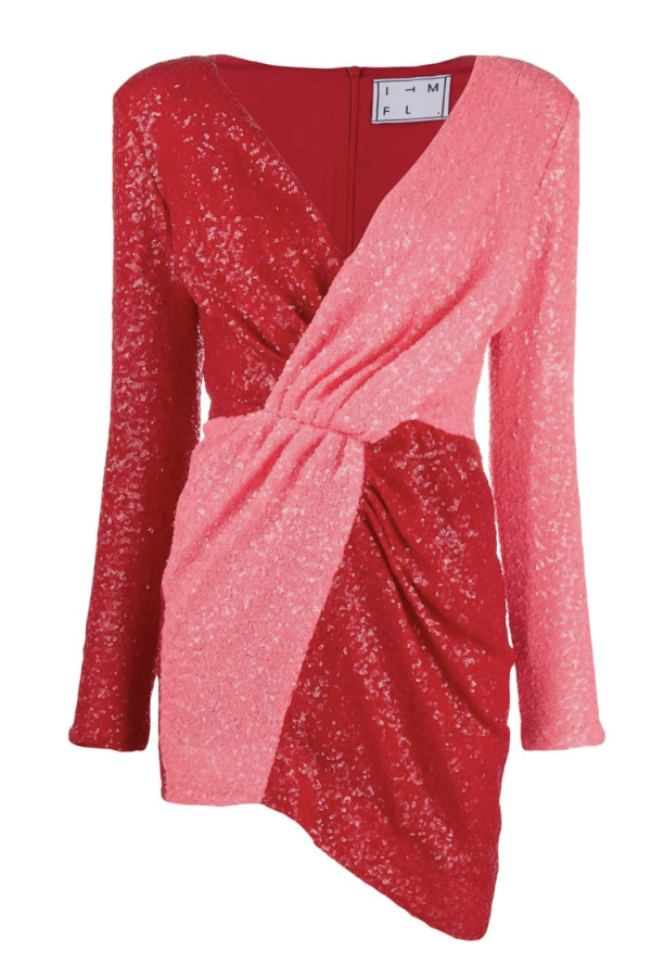 PINK RED SEQUIN MINI DRESS
