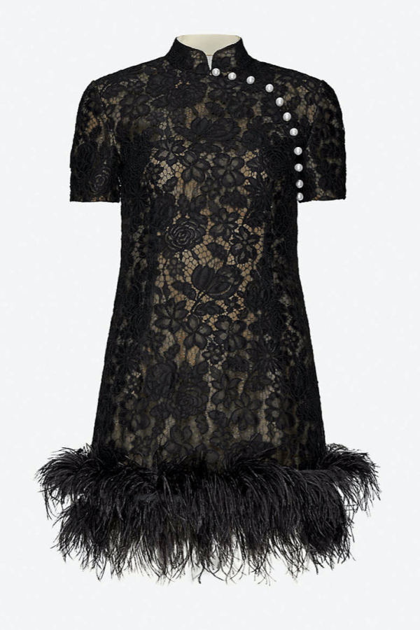 BLACK LACE WITH FEATHER TRIM MINI DRESS