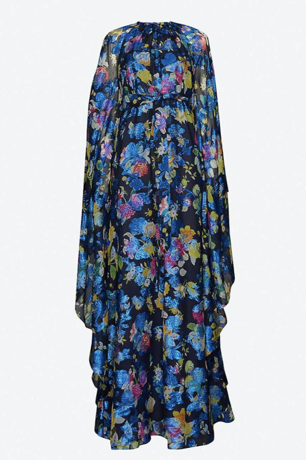 BLUE FLORAL MAXI FLOAT PONCHO DRESS