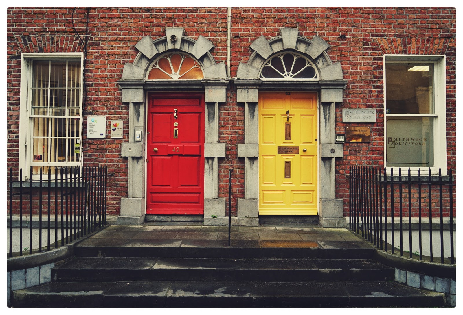 Hiring manager: Red door and yellow door side-by-side