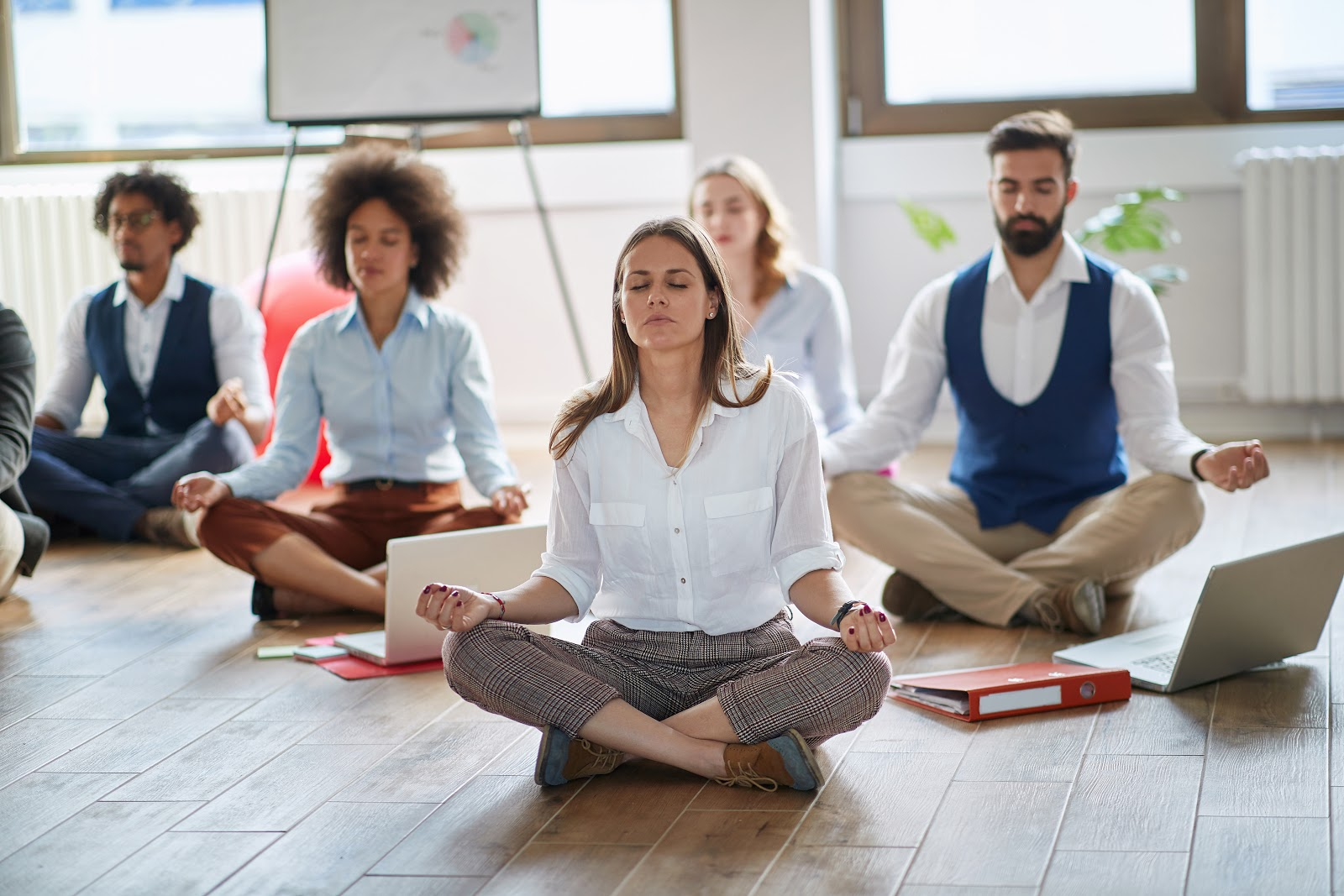 most common interview questions: group of people meditating