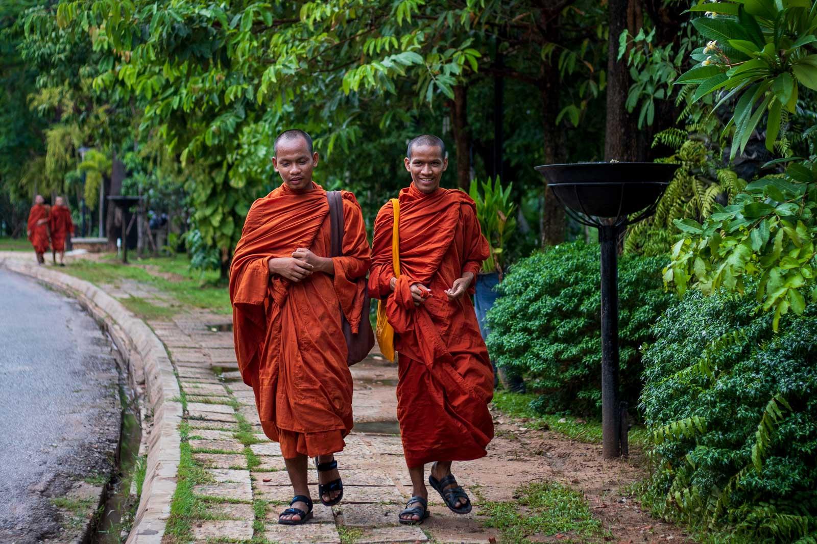 Siem Reap Monks walking
