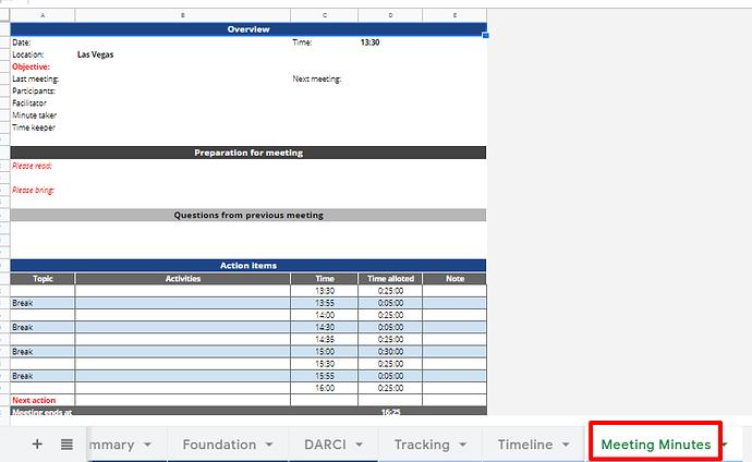 Template quản lý dự án - Meeting Minute