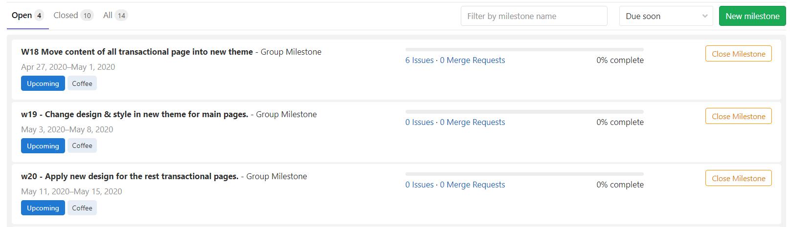 Định nghĩa Sprint bằng Milestone của GitLab