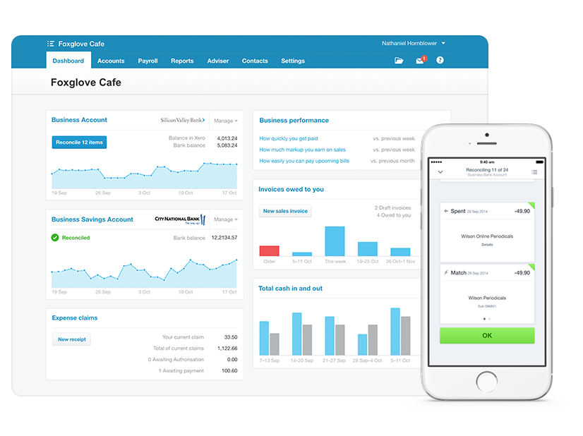 Screenshot of the Xero accounting platform in app for both the web app and mobile