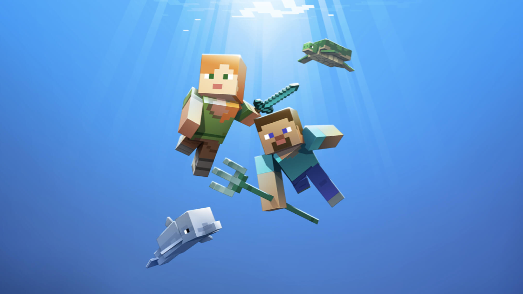 Minecraft characters playing in the ocean