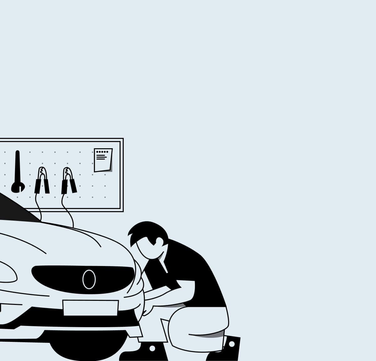 Illustration of car repair.