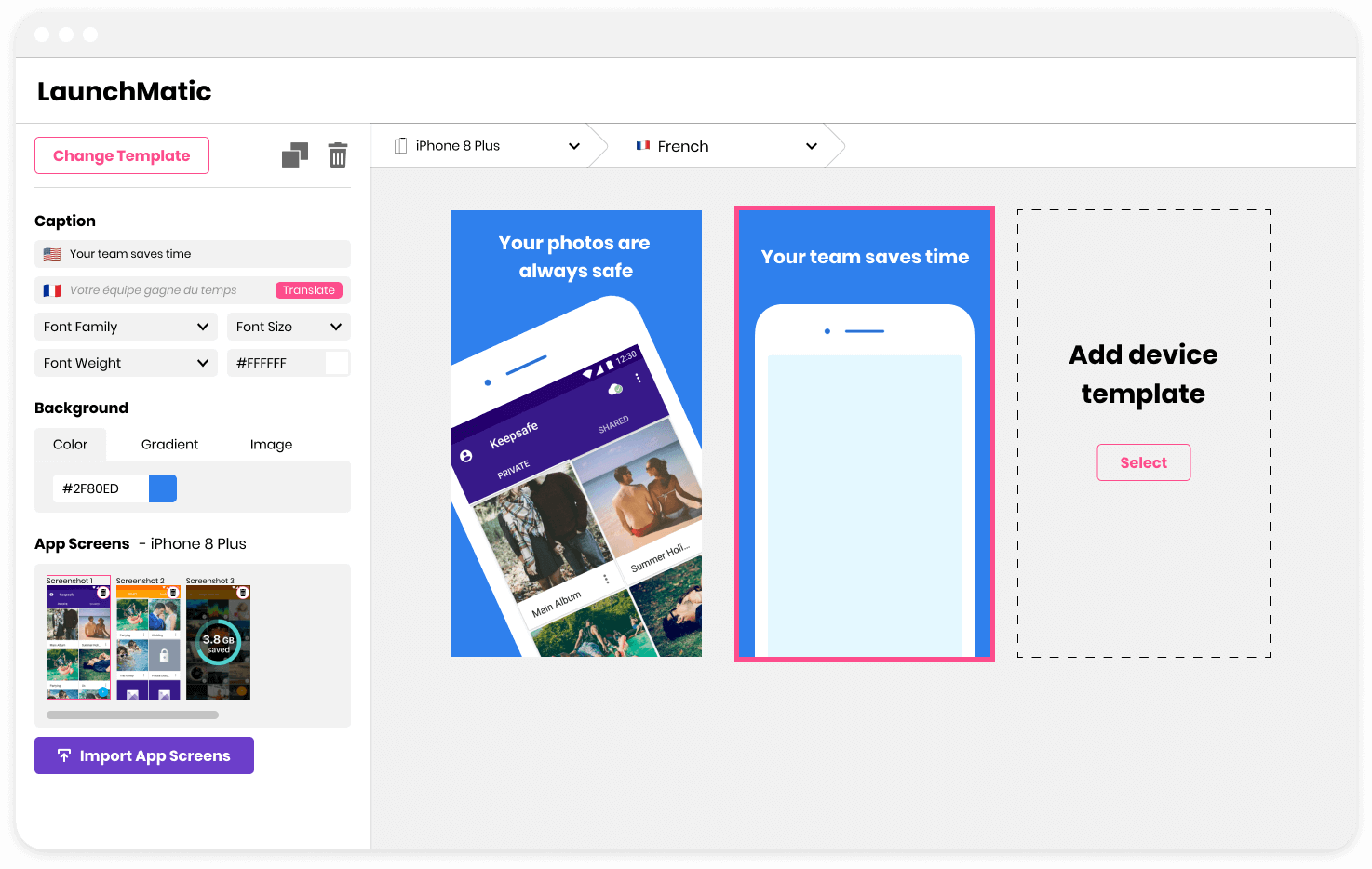 Preview of LaunchMatic's app screenshot design tool