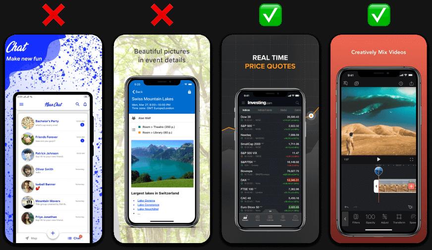 Example of bad screenshot design vs good screenshot design