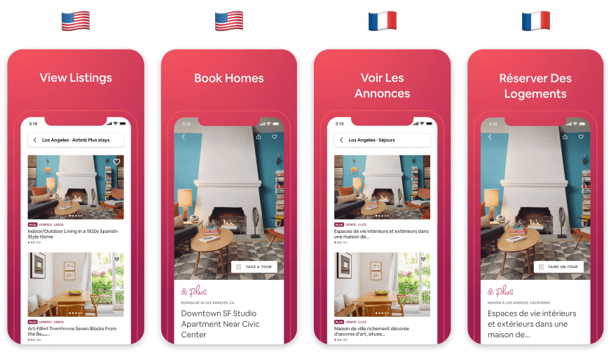 Airbnb App Store Screenshot Localization from English to French